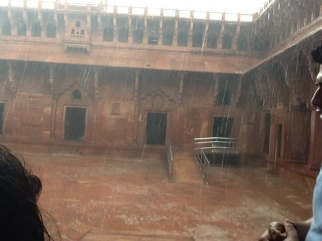 The first monsoon rain in Agra caught us at The Red Fort