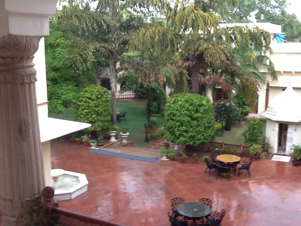 Courtyard of Alsisar Haveli during monsoon shower