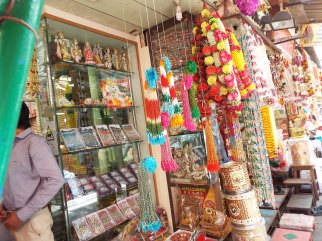 A colorful storefront in Old Delhi.