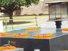 Mahatma Gandhi's memorial, an eternal flame.