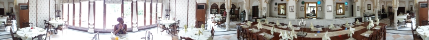 Visiting in low season resulted in rather exclusive dining in Alsisar Haveli's stunning dining hall.
