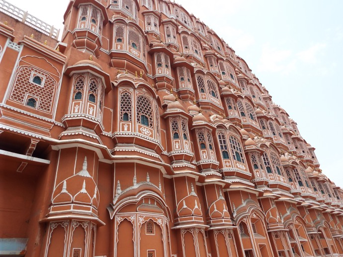 One would never know the chaotic traffic that exists beneath Jaipur's signature Wind Palace by looking at this picture.