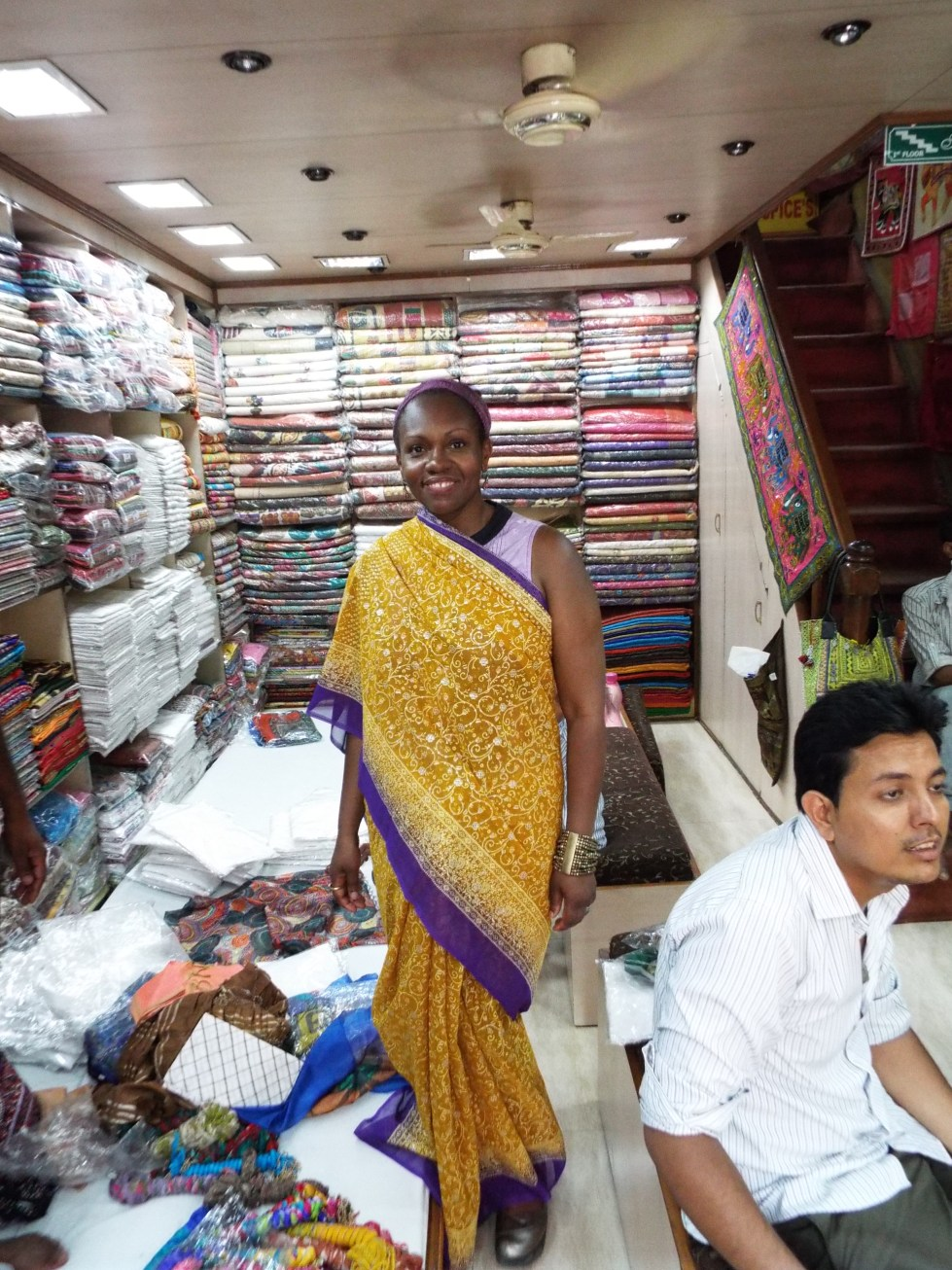 These shopkeepers were sweet enough to provide me this sari photo op, even though I was adamant about not buying one.  As I've said before, saris are beautiful but one would be out of context in my life.