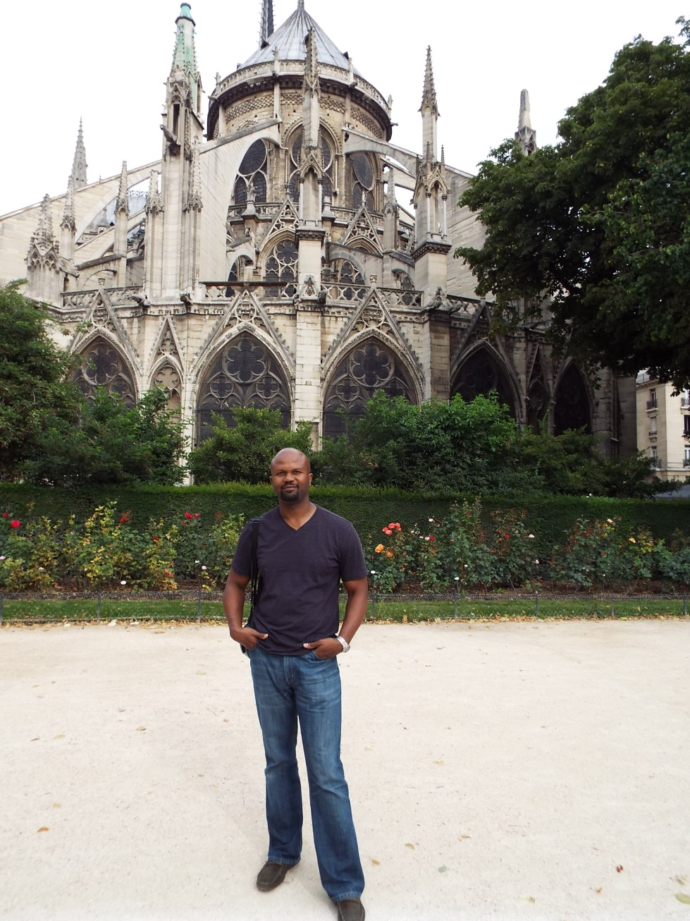 T at the back of the Notre Dame, his favorite of the many cathedrals we've visited on my worldwide cathedral tour.