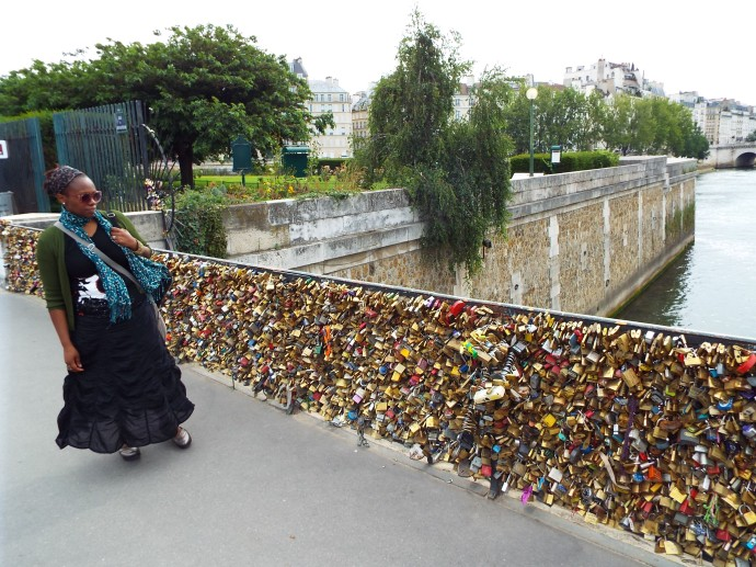 Lovers' locks on the banks of the Seine River