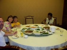 Sharing a Spicy Sichuan meal with members of our our fellow tour group.