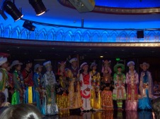 Onboard entertainment, a pageant celebrating China's different regions, was provided by the ship's extremely hard-working staff.
