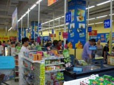 Check out counter at Wal-Mart in Yichang, where the condoms are right up front.