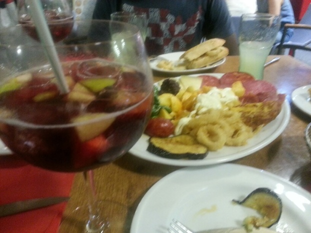 Tapas y sangria from Taberna Taurina on our first night in Madrid
