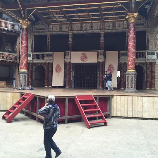 Friday began with a 7AM rehearsal on the Globe stage itself. Here I am making an entrance on the right with my scene partner. Our director, the gracious Fergal McElherron is guiding us from the yard.