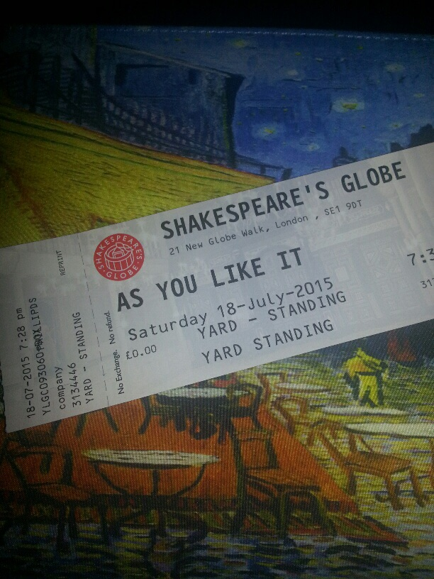 We started serious ly rehearsing As You Like It on Friday and saw the Globe's raucously joyous production on Saturday night. I had a scare when I misplaced my original ticket but the ticket office was kind enough to replace it when, at the last desperate minute, I showed them my TSTP badge and begged.