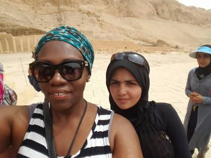 With a new friend, Zara, at the Temple of Hatshepsut