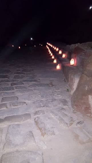 Footpath leading up to The Treasury during Petra by Night.